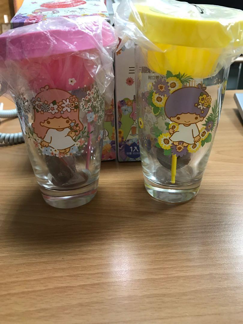 全新現貨7-11 三麗鷗盆栽 玻璃杯組附立體公仔攪拌棒 雙子星Lala 滿天星杯 Kiki 向日葵杯