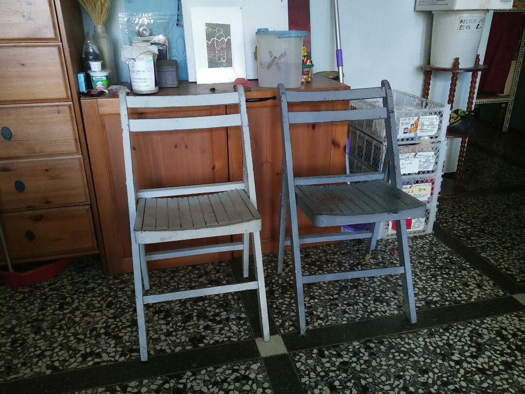 早期實木摺疊椅兩張一起賣[臺北永和面交]