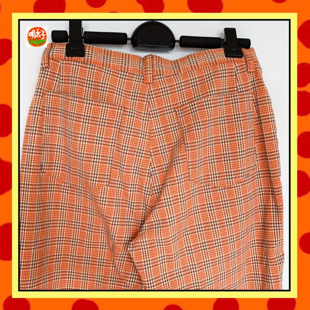 二手 箱子 橘色 格紋 微彈性 中高腰 七分 長褲 明太子 B912