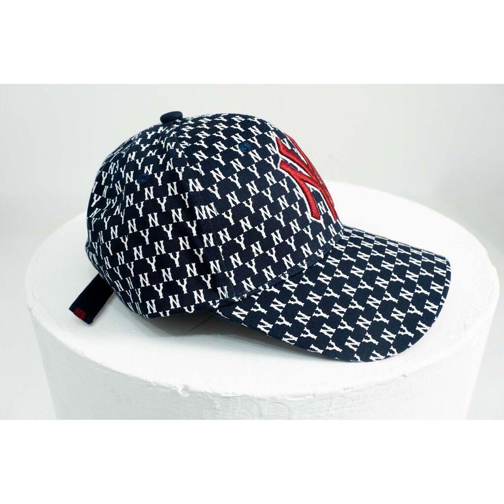 韓國 正品驗證 新款 MLB 棒球帽 NY 帽子 滿版英文字母 老帽 Monogram 陳小藍同款 只剪標