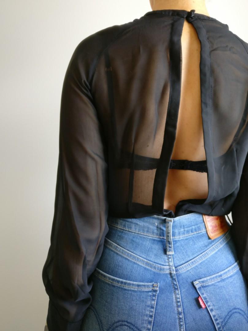 Ali & Kris Boutique Sheer Open Back Blouse, Size S