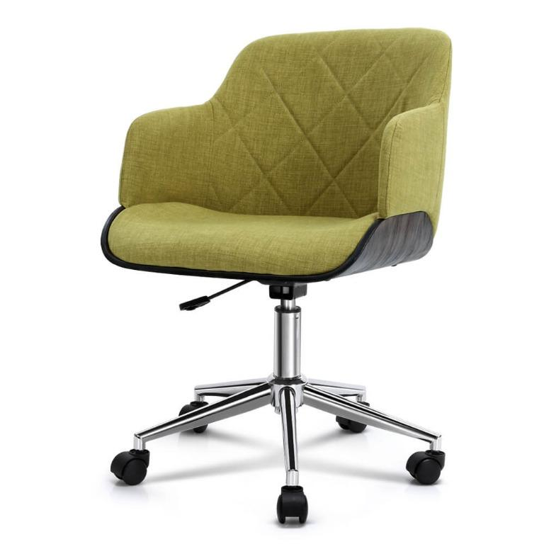Artiss Wooden Office Chair Computer Gaming Chairs Executive Fabric Green