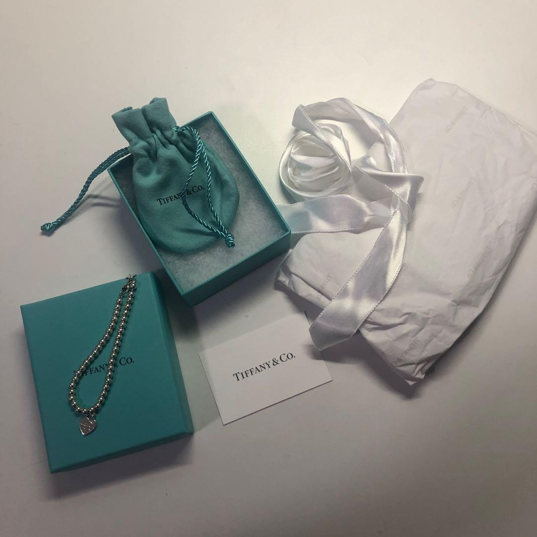 AUTHENTIC TIFFANY AND CO RETURN TO TIFFANY HEART PENDANT PINK BEAD SILVER BRACELET