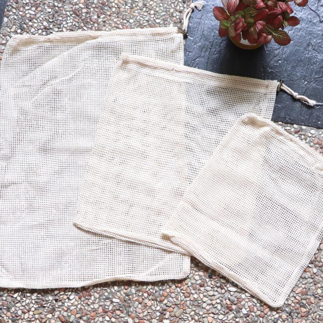 🌟BN 6 Pcs Set Organic Cotton Reusable Mesh Bags 🐳