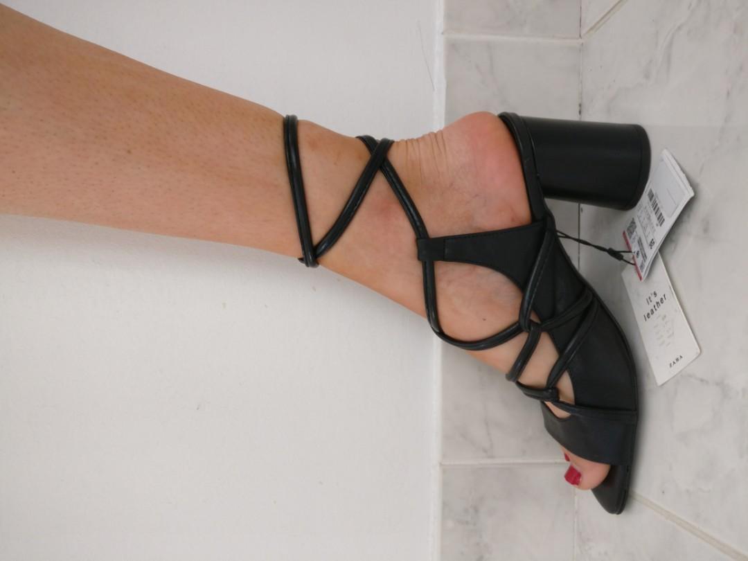BNWT Zara Leather Strappy Heels, Size 8 (size 39  Zara)