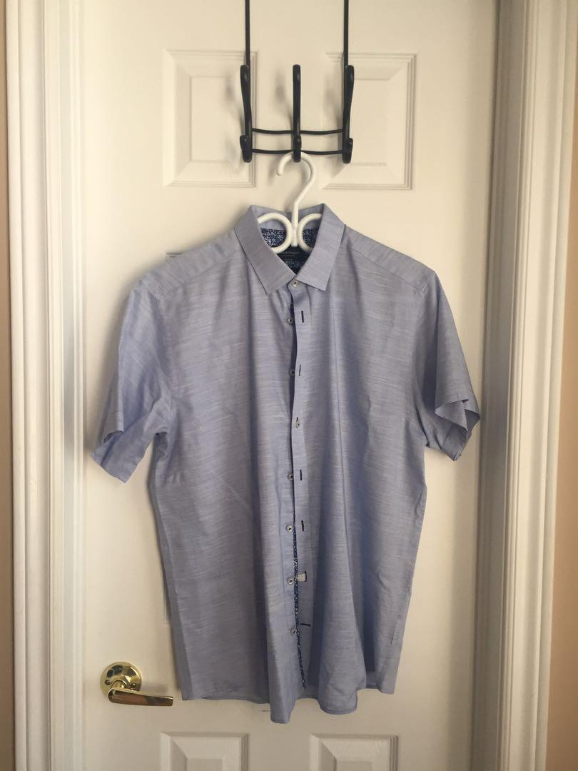 Bruun &  Stengade Button Up - Blue and White (Size 42)