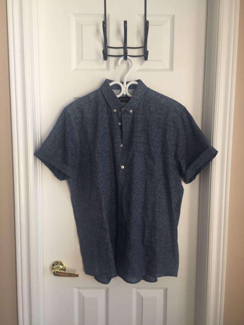 Bruun &  Stengade Button Up - Blue with White Dots (Size 42)