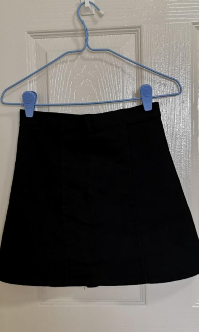 Button Up A Line Black Skirt