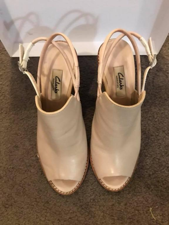 Clarks leather narrative peep toe wedge sandals UK5 US7.5 EU38