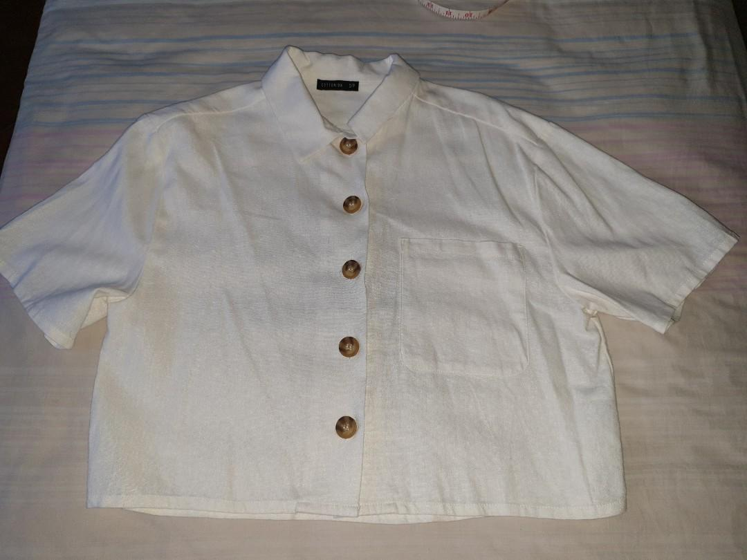 pending cotton on white button up collared cropped vintage meg shirt with chest pocket
