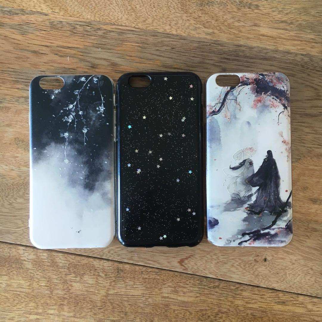 Cute iPhone 6/6s case black stardust ancient cherry blossom