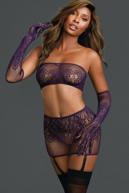 DREAMGIRL Hot Purple Net Gartered Skirt + Top + Gloves One Size