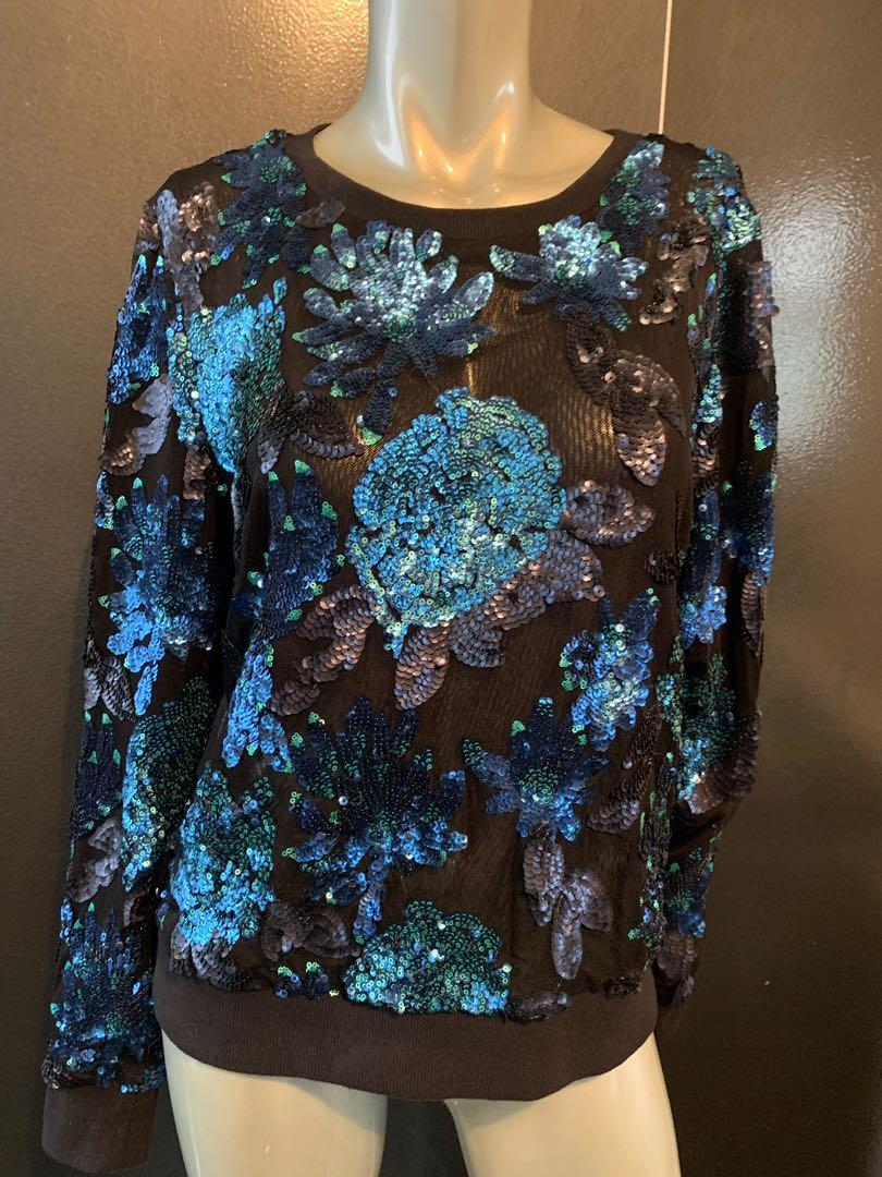 Forever New Blue Charcoal Black Floral Sequin Mesh Top