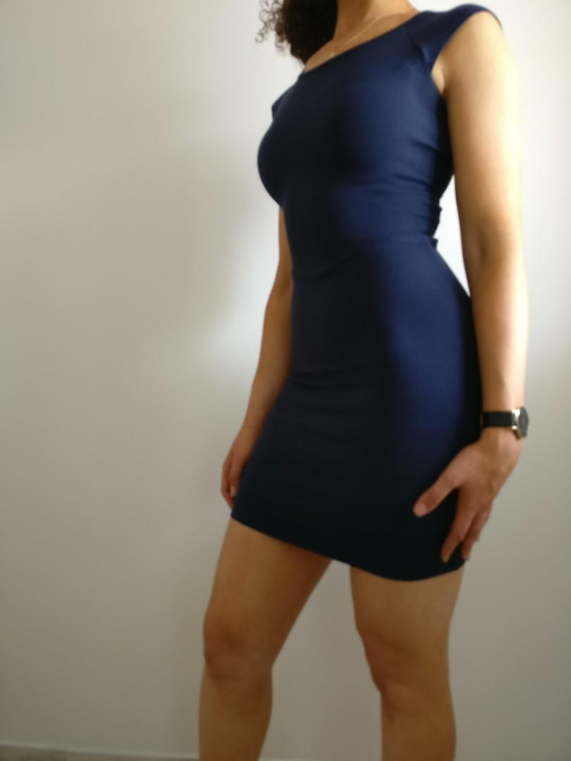 French Connection Bodycon Navy Dress with Lace, Size 04