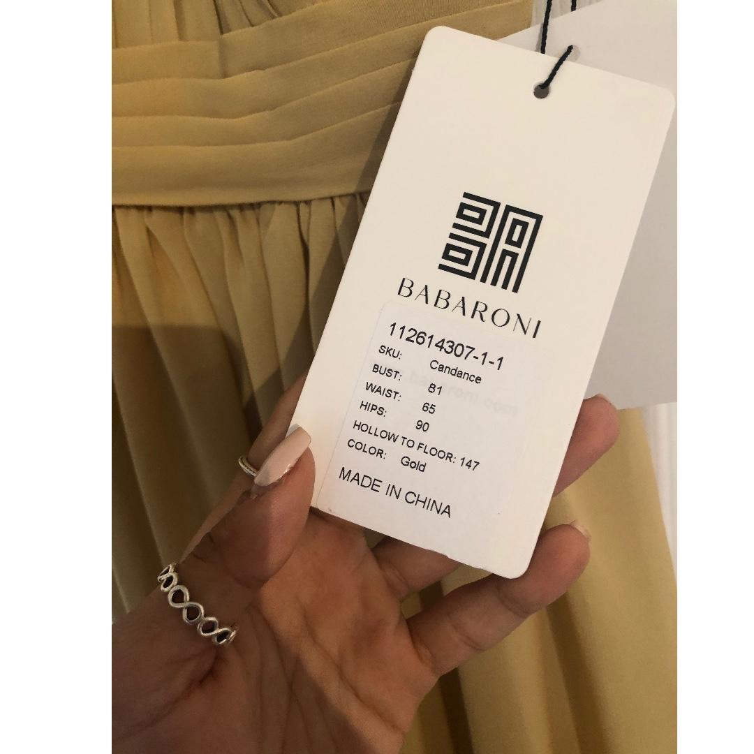 GOLD BRIDESMAIDS/WEDDING DRESS (BABARONI)(NEVER WORN)