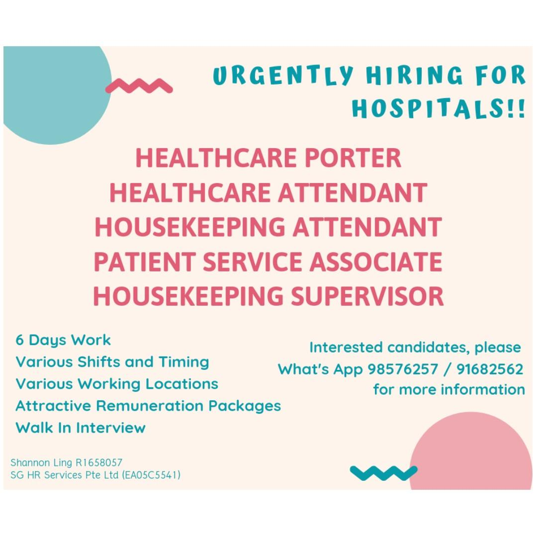 Immediate vacancies available for Hospitals