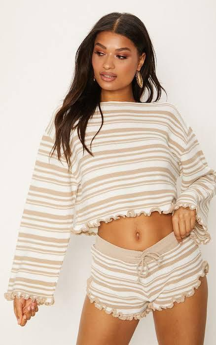 LARGE stripe frill edge crop jumper PRETTY LITTLE THING