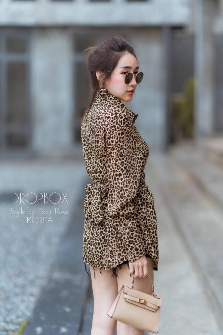 Leopard Bow Tied Shirt