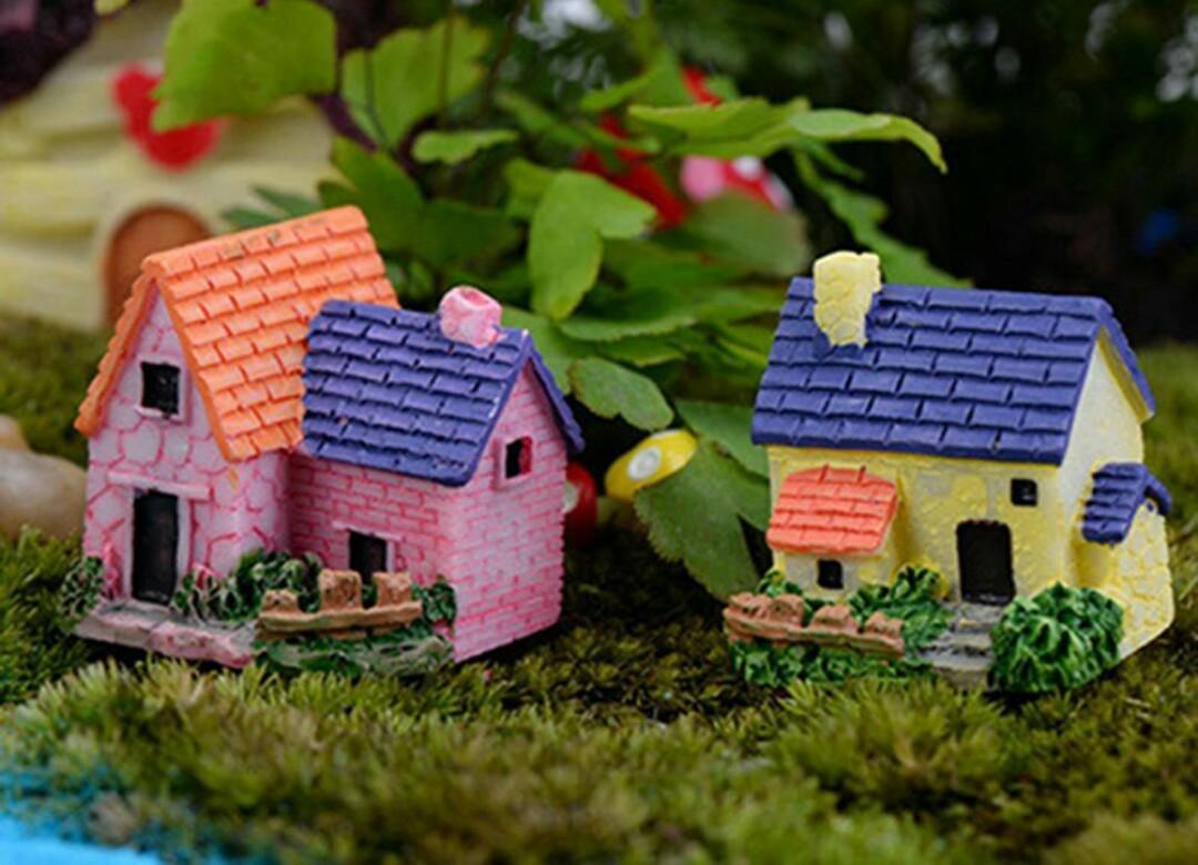 1pc Mini house cottage miniature garden diy decoration terrarium figurine fairy garden plant decor duck rabbit mushroom cottage ladybug dog  dolphin tortoise flamingo swan couple boyfriend girlfriend