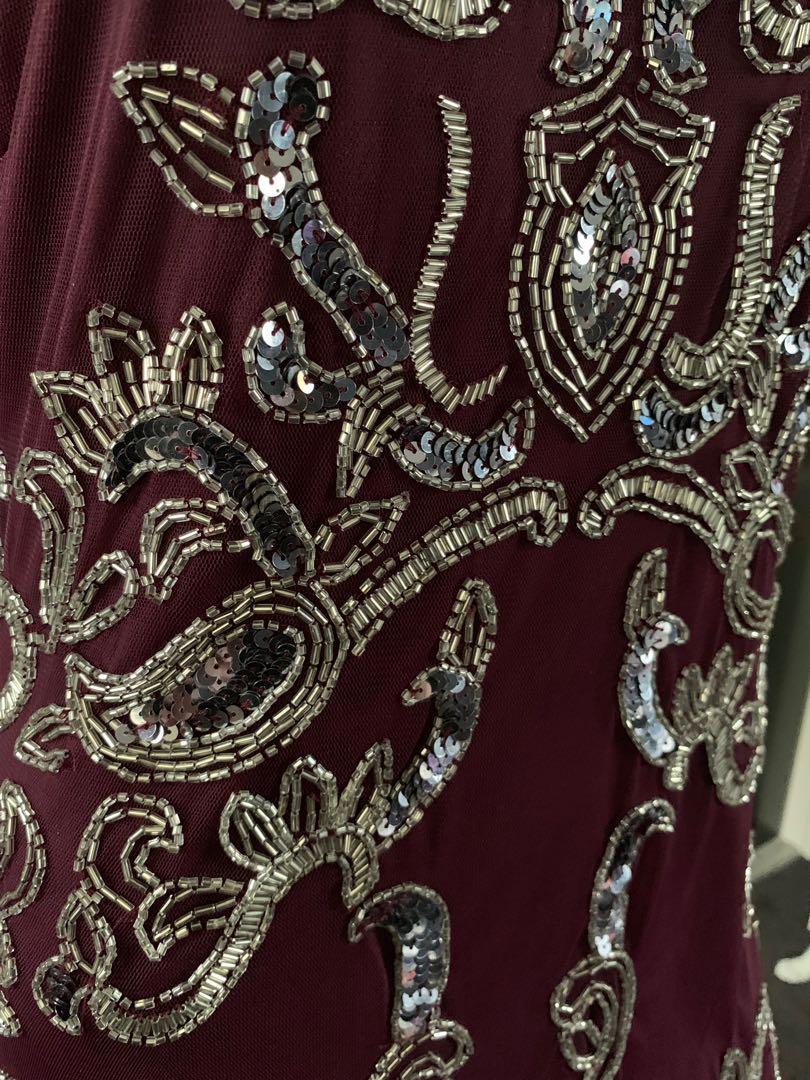Miss Selfridge Embellished Sequin Beaded Dress Size 14