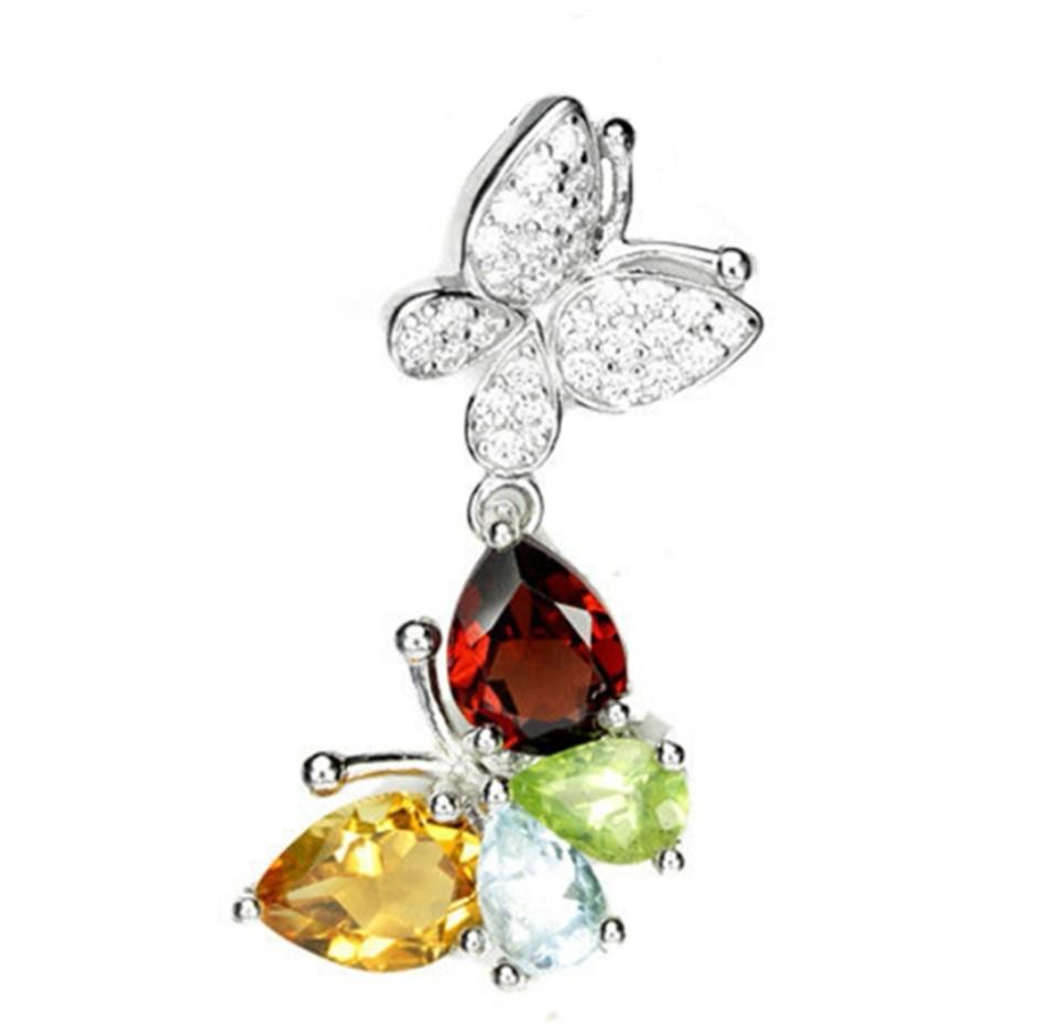 NATURAL PENDANT TWIN BUTTERFLY RED GARNET, YELLOW CITRINE, GREEN PERIDOT & BLUE TOPAZ PLATED WHITE GOLD 925 STERLING PERAK ASLI IMPORT CASUAL LOKET NON NECKLACE