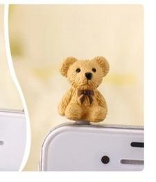 New Teddy bear shaped phone dust plug 3.5mm earphone plug for all mobile phones