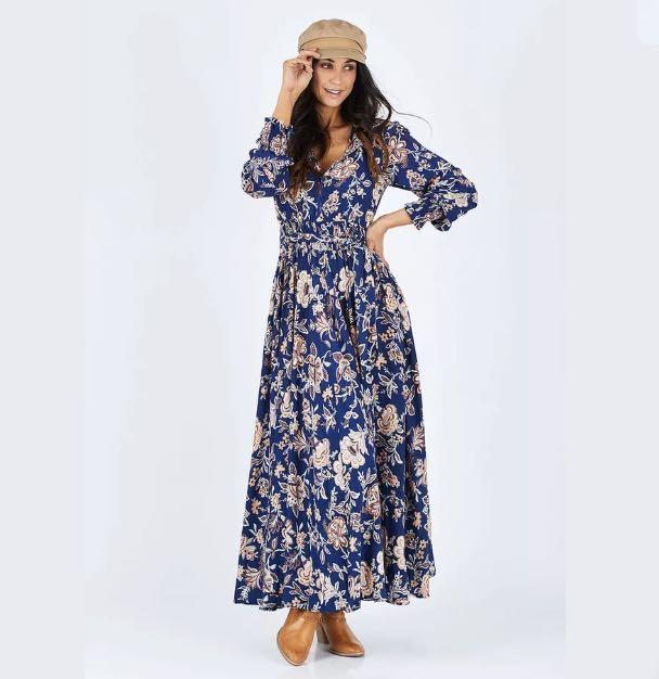 NWT Jaase Maxi blue floral Dress sz XS boho hippy festival