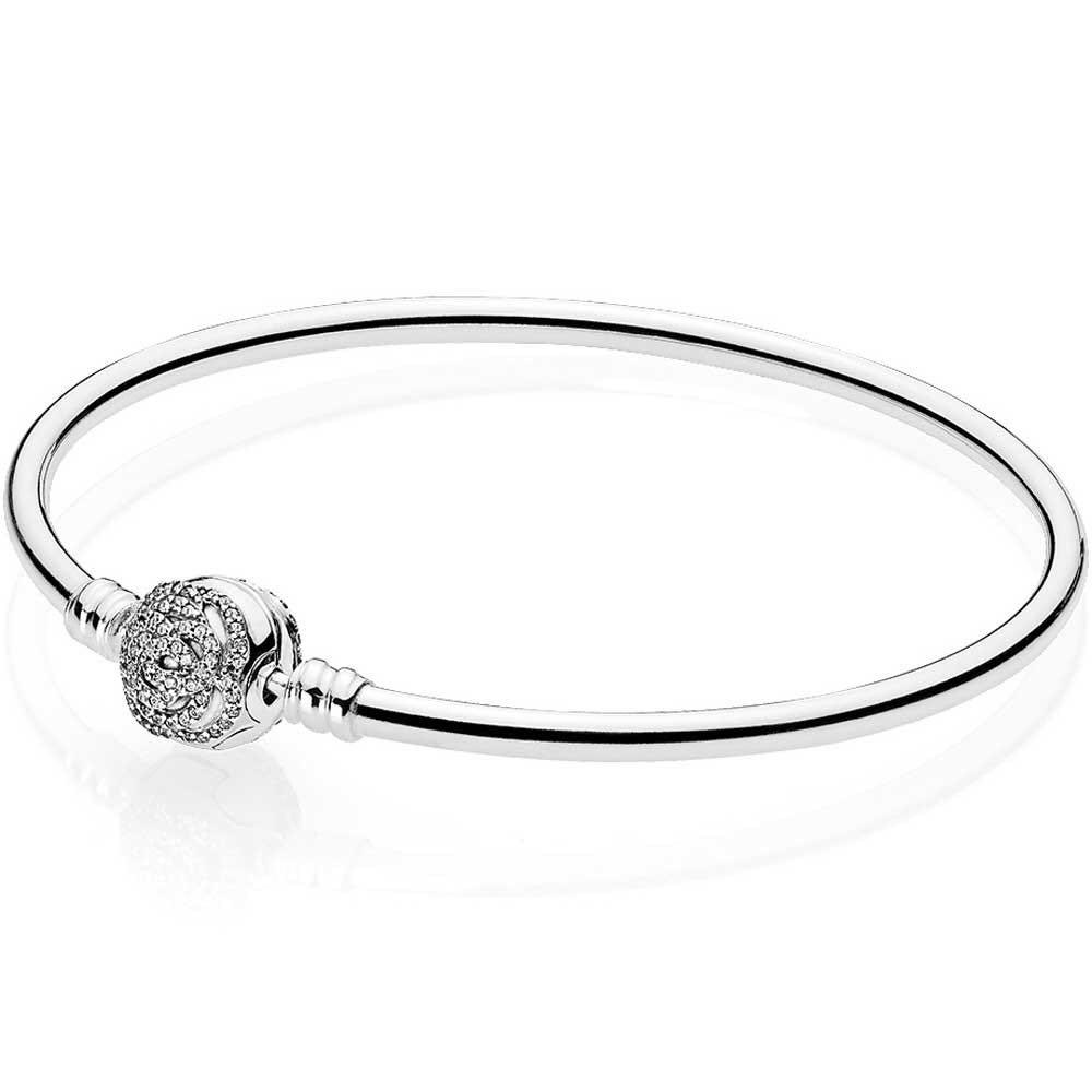 PANDORA DISNEY LIMITED EDITION BEAUTY AND THE BEAST BANGLE WITH BELLE'S ENCHANTED ROSE CLASP #17