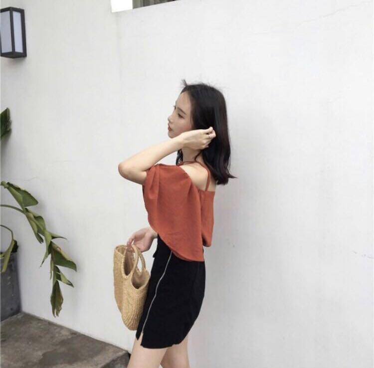 Pixie Cold Shoulder Top In Burnt Orange
