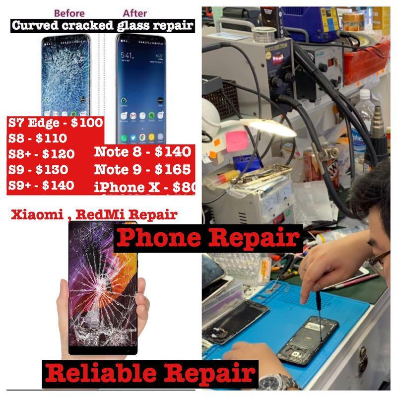 Samsung S7 S8 S9 S10 Plus Screen Glass Repair, iPhone Repair