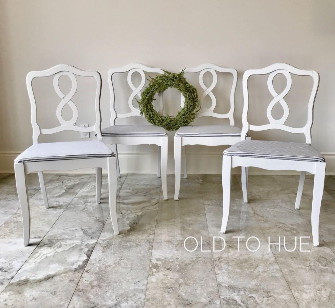 Set of 4 French farmhouse country white distressed dining chairs