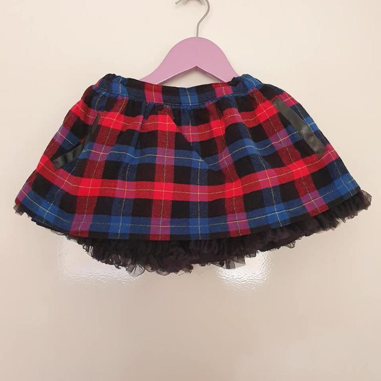 Size 12-18 months / 1 Guc Pumpkin Patch check tartan tulle trim winter skirt