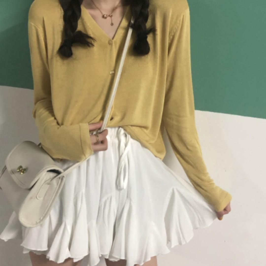 T2-315Oversized Loose Knit Long Sleeve Top/Skorts