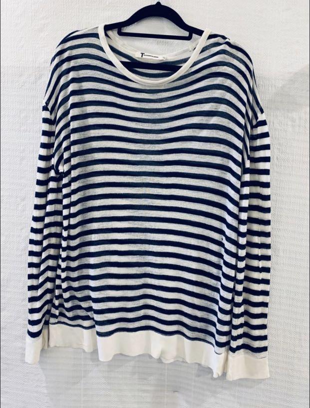 T by Alexander Wang | Striped slub stretch-jersey sweater