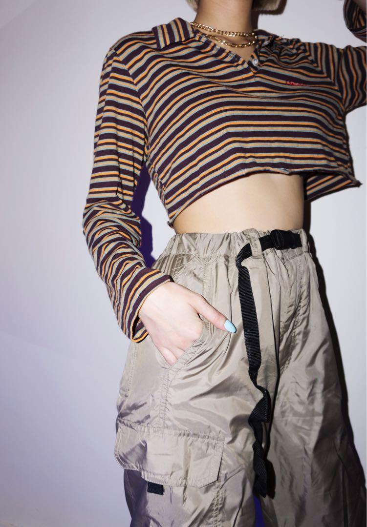 Long Sleeve Crop Top Stripes
