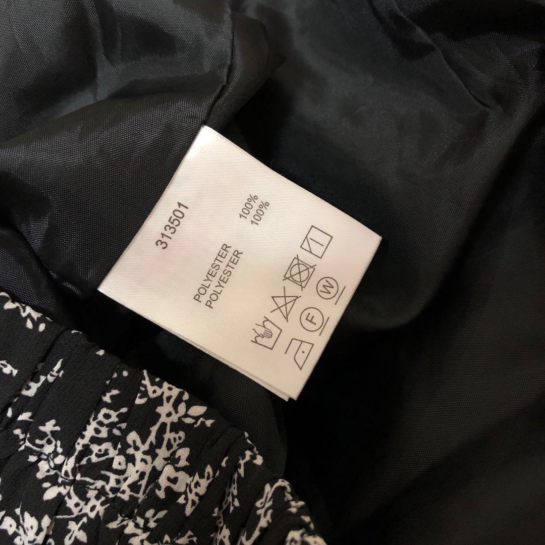 W closet Japan black flower pattern long skirt size free 橡筋腰圍 黑色 碎花 長裙 有底裙