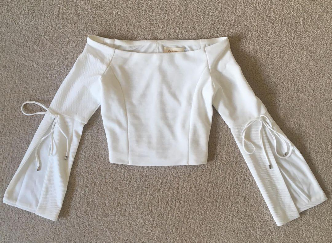White off shoulder split bell sleeve
