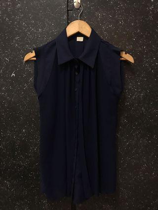 藍色雪紡無袖襯衫 (不含運)
