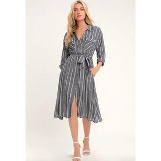 LULUS SLAUSON DARK BLUE STRIPED LONG SLEEVE SHIRT DRESS
