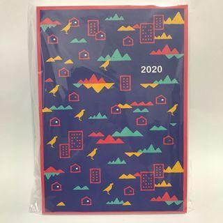 全新* 2020童趣印花圖樣 全彩印刷記事手札 行事曆 25K 內頁可攤平書寫