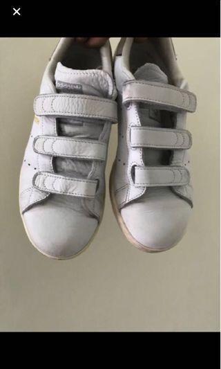 正品Adidas 愛迪達Stan Smith 魔鬼氈灰尾奶油底白鞋