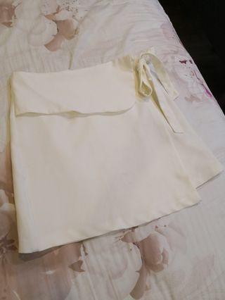 (Reduced) Zalora White Overlap Skirt