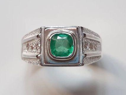 Natural Colombia Emerald/Fancy Colour Diamonds 925 Silver Custom-Made Ring
