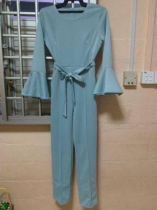Tiffany blue bell sleeve long rompers