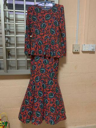 Printed Peplum Mermaid dress