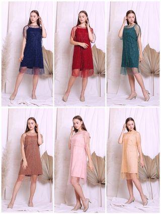 New Mididress dress pesta / kondangan / full brukat