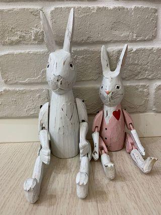 #Lalamove 真方便  韓國帶回 兔子擺件 「伊食堂」關節兔  木頭兔