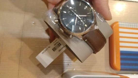 Jam tangan Fossil Townsman Chronograph Brown Leather Watch