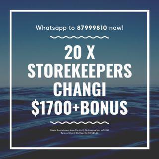 Storekeepers @ Changi ($1700 + OT, Air Con, Start ASAP!!!)