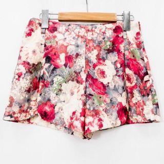 正韓 油畫花顯瘦美美短褲